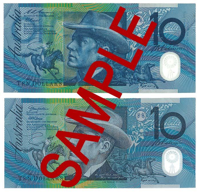 Counterfeit Australian 10 dollar note