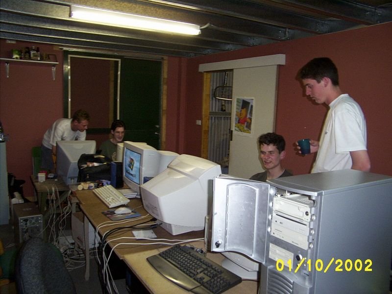 A LAN party in a shed