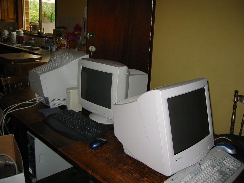 CRT monitors at a LAN party