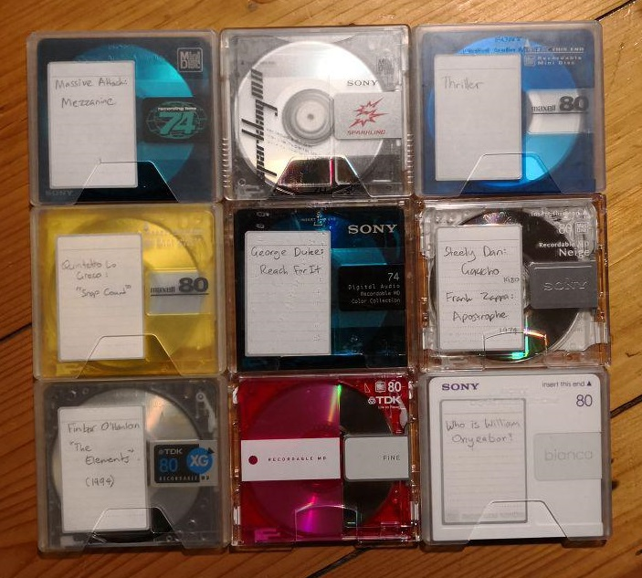 A selection of colourful minidiscs